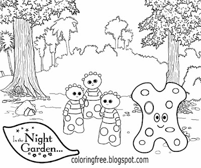 Flower simple backyard Haahoos in the night garden coloring page for playgroup kids sketching design