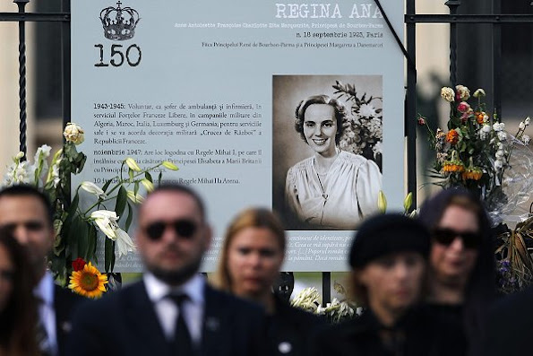 Prince Radu of Romania, Princess Margareta, Princess Elena, Princess Sophie, Princess Maria attended the funeral of late Queen Anne of Romania in front of the Royal Palace