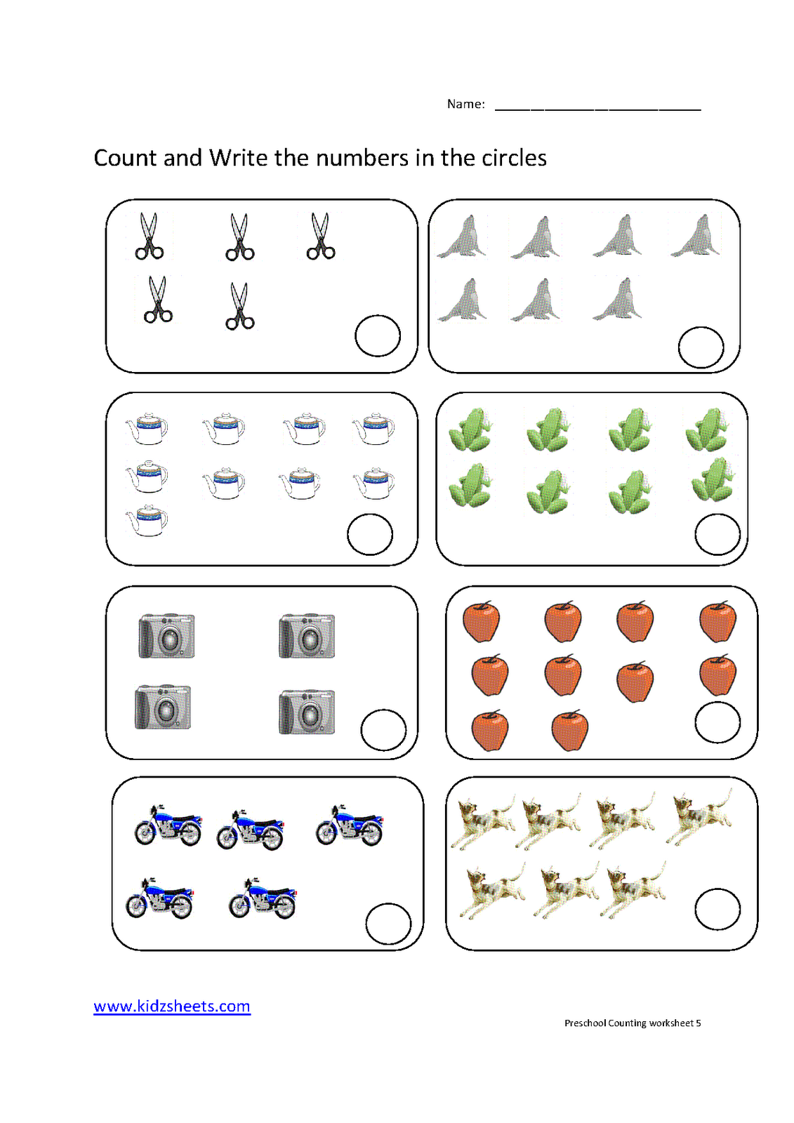 Count Color Worksheet For Kindergarten