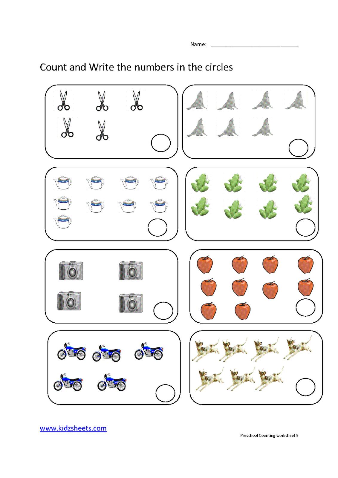 Kidz Worksheets: Preschool Counting Worksheet5