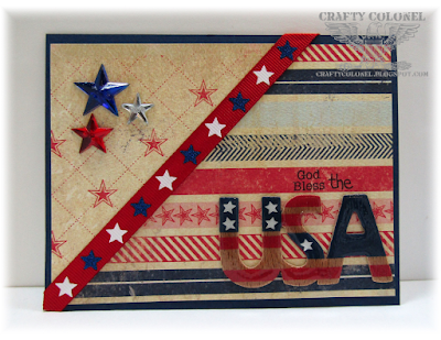 CraftyColonel Donna Nuce for Cards in Envy Challenge blog.  Stars, Patriotic, Authentique