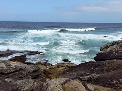 Rocky coastal line at Bondi to Bronte coastal walk Sydney