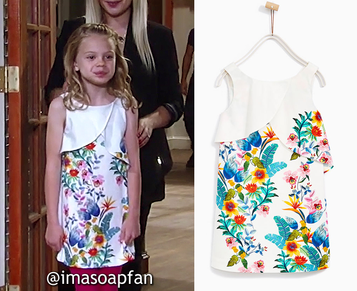 Charlotte Cassadine, Scarlett Fernandez, Tropical Floral Dress with Layered Neckline, Zara, General Hospital, GH