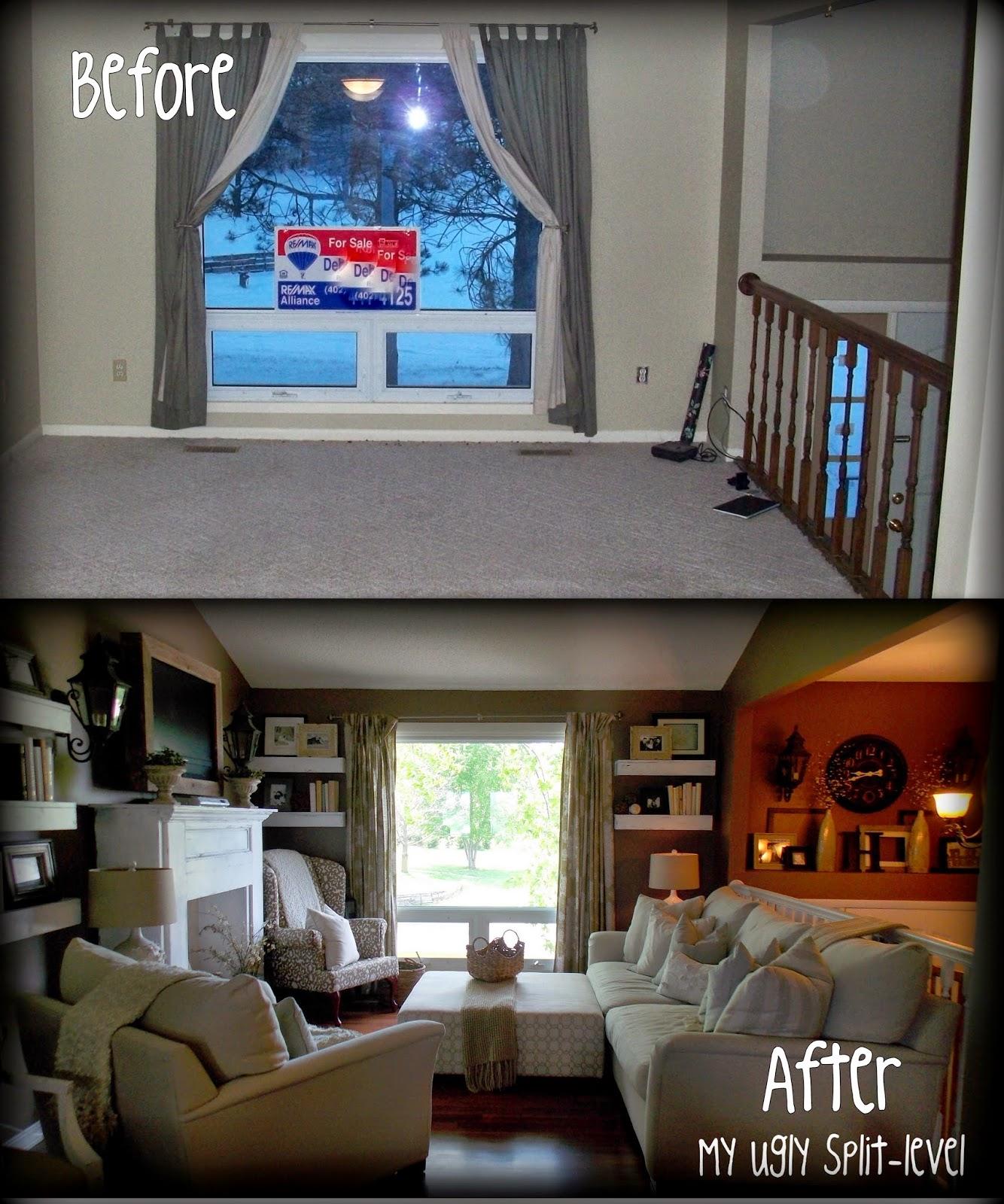 amazing split level living room | My Ugly Split-level: DIY Living Room Shelves