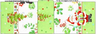 Etiqueta Tic Tac para imprimir gratis de Santa en Fondo Verde.