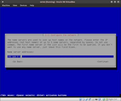 Masukkan name server addres / dns nya 192.168.2.1