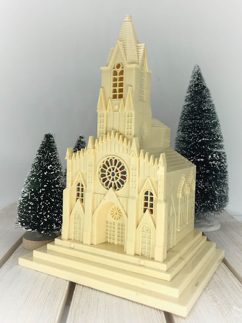 Vintage Plastic Lighted Church - Estate Sale Find By Thistle Thicket Studio. www.thistlethicketstudio.com