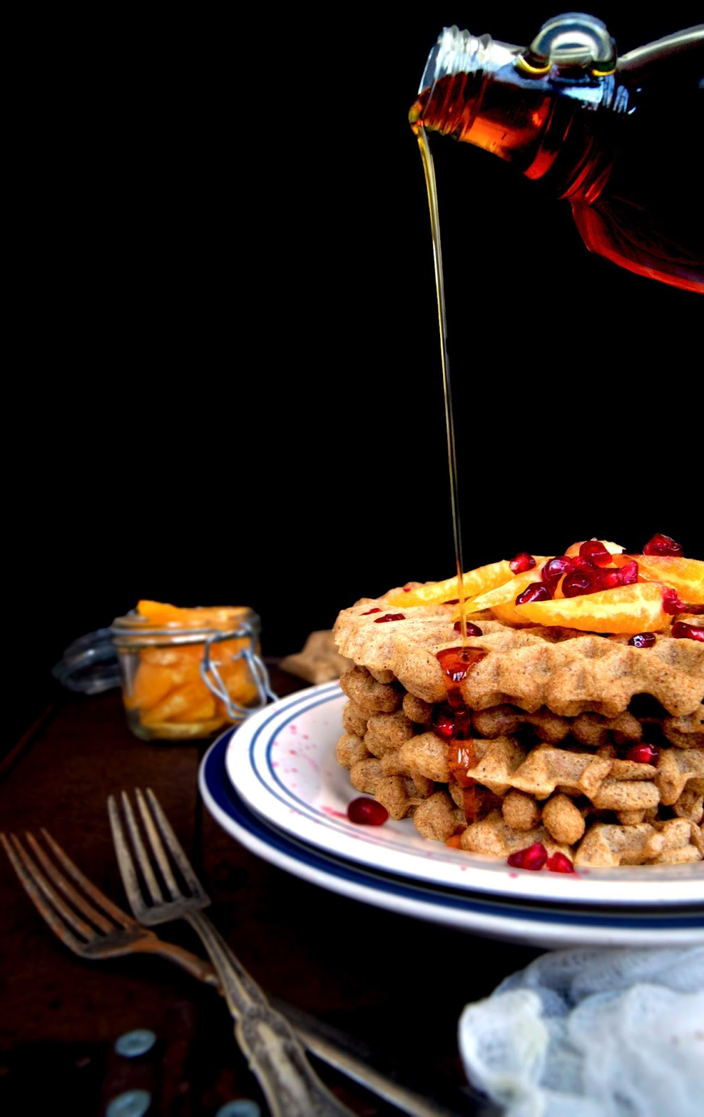 These whole wheat and vegan overnight waffles are made with yeast instead of baking powder, then left to rise overnight so you wake up ready to make waffles. The texture is a bit chewier, with a slightly stronger flavour, and flavoured with orange.