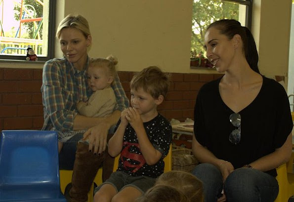 Princess Charlene met with Sean Wittstock, Chantell Wittstock, Raigen Wittstock and Aiva Grace Wittstock in Benoni