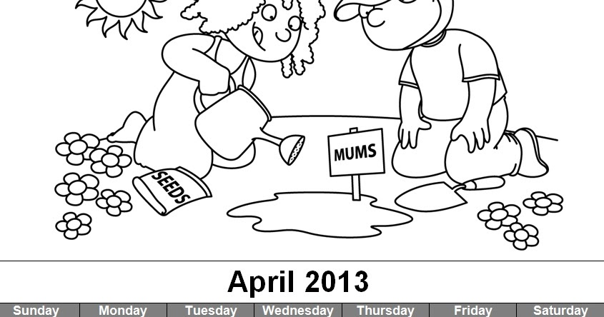 Craftdrawer Crafts: Free April Coloring Page and Calendar