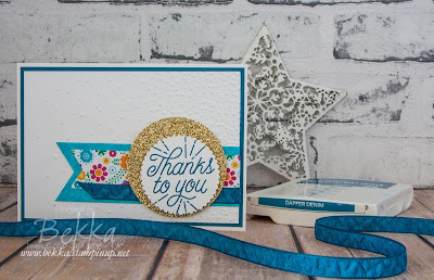 Festive Birthday Papers Thank You Banner Card Made Using Stampin' Up! UK Supplies which you can buy here