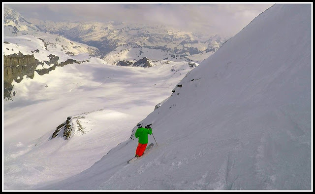 monoski face nord de glacier de la grande motte