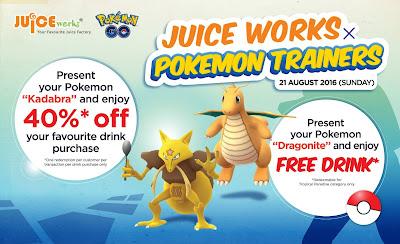 Juice Works Malaysia Free Drink Promo Pokemon Go