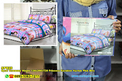 Sprei Tommony Single 120x200xT20 Princess Karakter Kartun Pink Biru