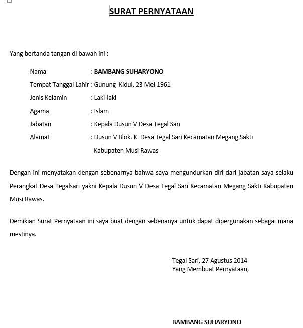 contoh surat pengunduran diri dari jabatan perangkat desa