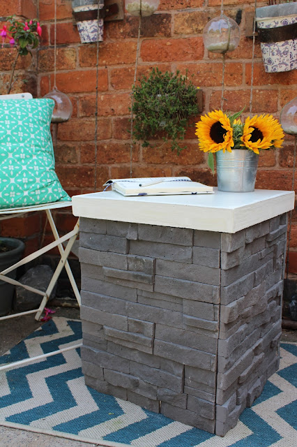 stacked stone tiled table