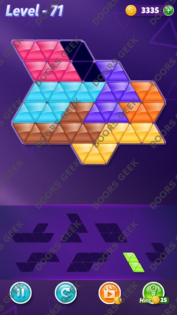 Block! Triangle Puzzle 7 Mania Level 71 Solution, Cheats, Walkthrough for Android, iPhone, iPad and iPod