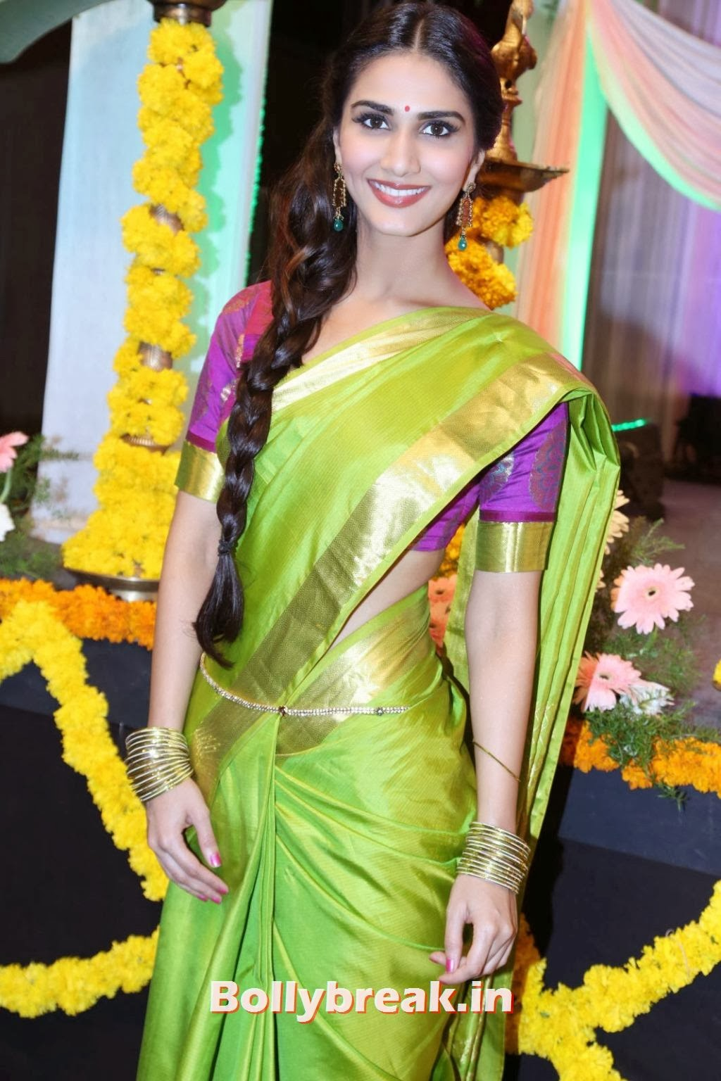 , Vaani Kapoor Traditional Tamil Saree Photos - Looking cute with Braid