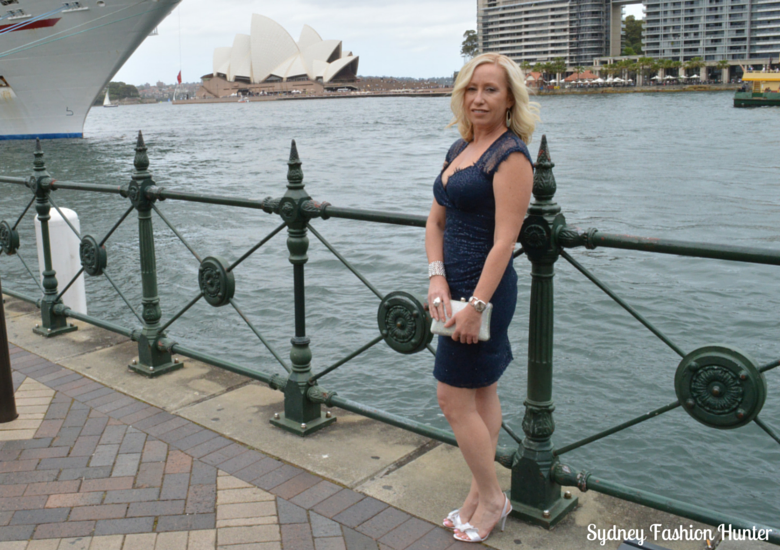 Sydney Opera House, Events navy sequin dress, Crystal Clutch, Nine West Sweeti Sandals