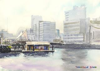天王洲運河 水彩 Canal Watercolor