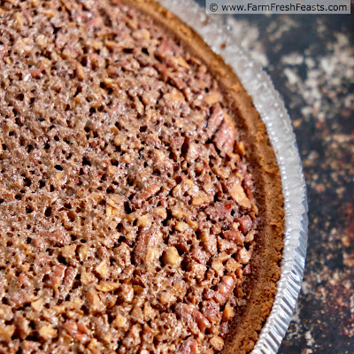 close up of chocolate pecan chess pie