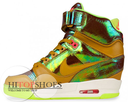 09048ed3d879 Women High Tops Nike Air Revolution Sky Hi Premium Bronze Dark Citron Wedge  Sneakers
