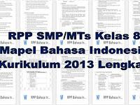 RPP SMP/MTs Kelas 8 Mapel Bahasa Indonesia Kurikulum 2013 Lengkap