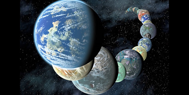 Artist's concept of how rocky, potentially habitable worlds elsewhere in our galaxy might appear. Data gathered by telescopes in space and on the ground suggest that small, rocky planets are common. (Placing them so close together in a line is for illustrative purposes only.) Credits: NASA/JPL-Caltech/R. Hurt (SSC-Caltech)