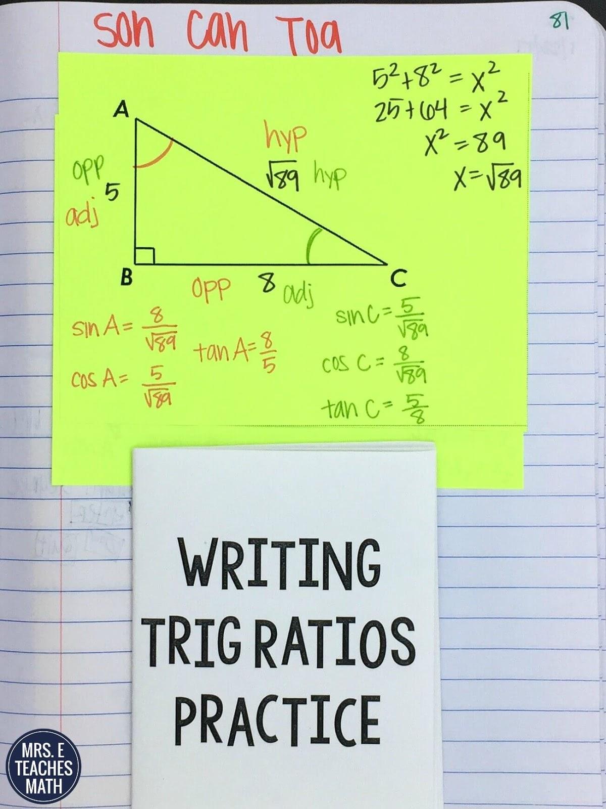 Trig Ratios Inb Pages