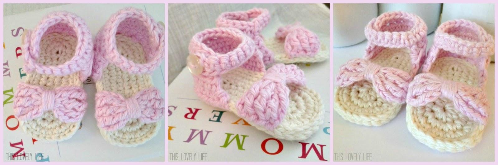 7cf47bda713a4b Bow Front Crochet Baby Sandals