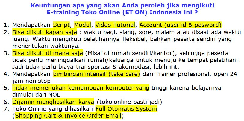 training toko online 2016