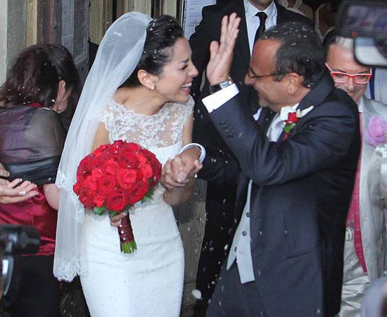 red carpet wedding carlo conti and vanesa vaccaro red