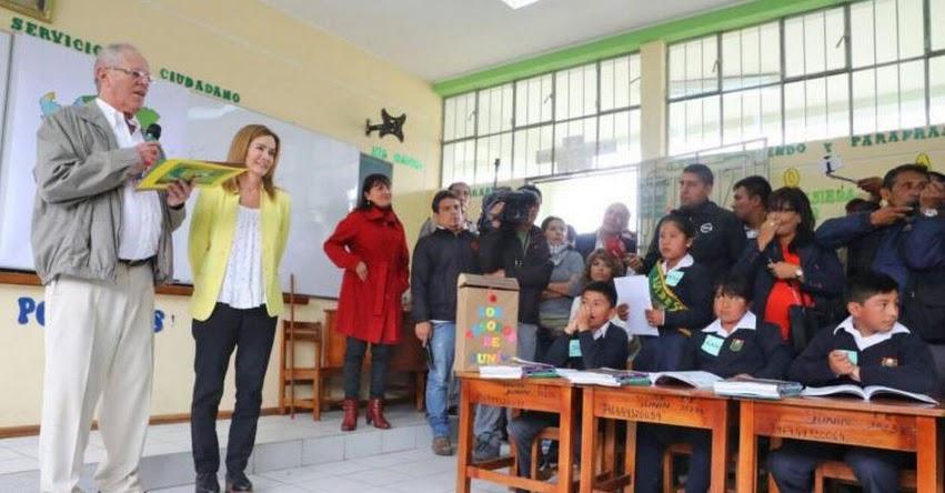 Con clases de Geografía a niños de Junín, Presidente dio inicio al Año Escolar 2017 - MINEDU - www.minedu.gob.pe
