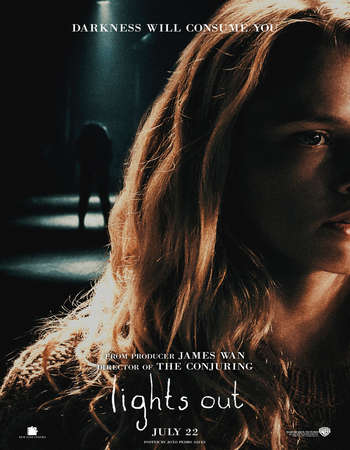 Poster Of Lights Out 2016 English 350MB BRRip 720p ESubs HEVC Free Download Watch Online Downloadhub.Net