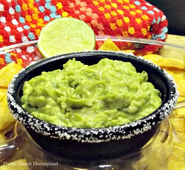 Margarita Guacamole with Lime Tortilla Chips - Home Sweet Homestead