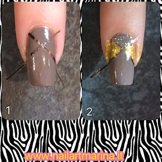 Tutorial unghie facilissime decorate con il filo adesivo, colorate in oro e argento.