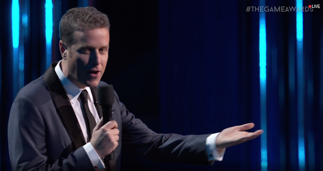 The Game Awards Geoff Keighley host underhand palm wave presenting