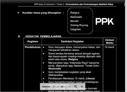 RPP Kelas 3 K13 Revisi 2018 (Download 5 Paket )