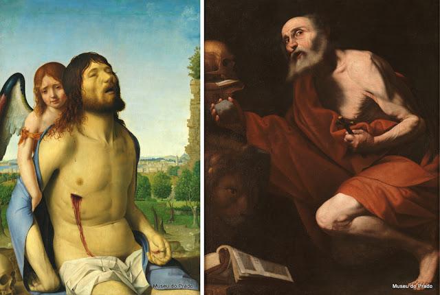 Antonello de Messina: Cristo morto amparado por um anjo, e o São Jerônimo de José de Ribera
