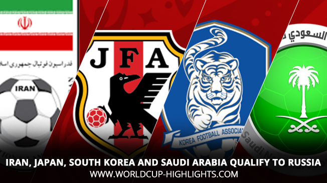Iran, Japan, South Korea and Saudi Arabia Qualify to Russia