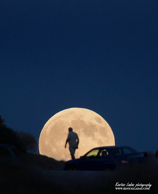 Silhouette in full moon