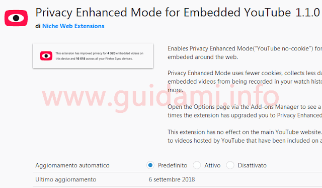 Addon Firefox Privacy Enhanced Mode for Embedded YouTube