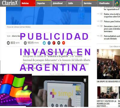 publicidad en Argentina que molesta al lector y no se sabe si rentabiliza las webs.