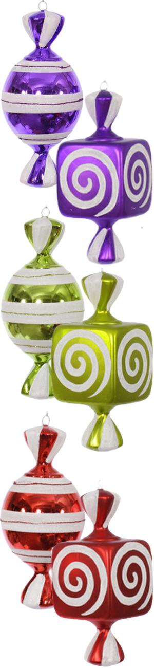 Walmart Vickerman 2 Piece Fat Candy Christmas Ornament Set (each color sold separately)