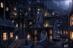 fantasy medieval night digital town artwork houses dark cityscapes hd wallpapers portuguese artistic cities guild concept architecture painting batman shadow