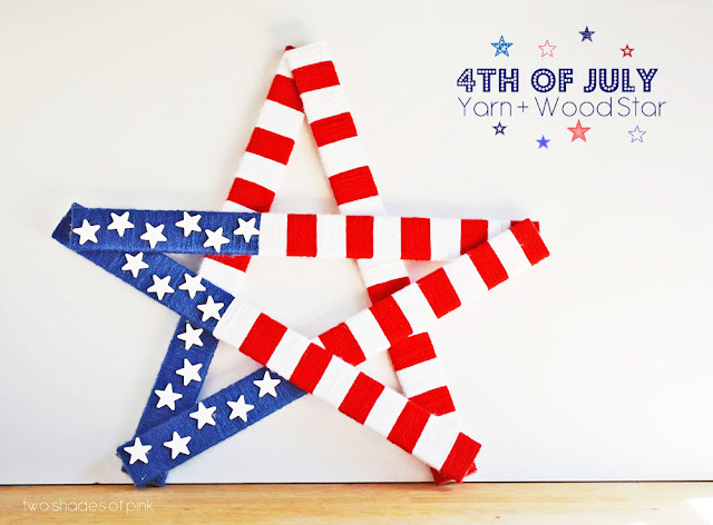 Patriotic 4th of July Yarn and Wood Star Decoration Tutorial | eighteen25