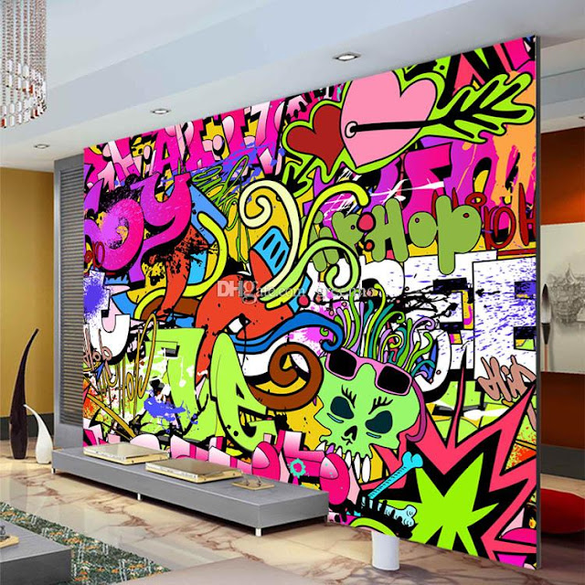 graffiti tapet coola tapter fototapet färgglad ungdomstapet tjejtapet killtapet