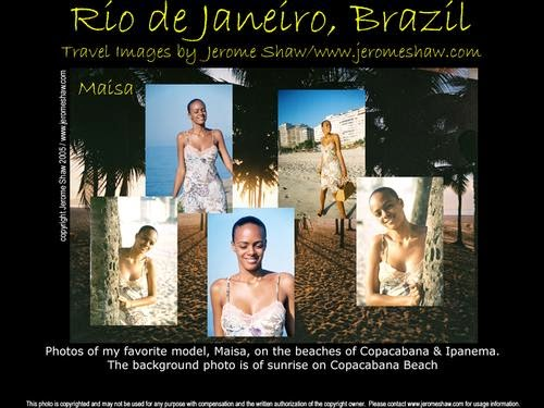 A composite of images of Maisa Soares Silva modeling on Copacabana & Ipanema Beach  in Rio de Janeiro, Brazil. Photo: copyright Jerome Shaw / http://www.JeromeShaw.com