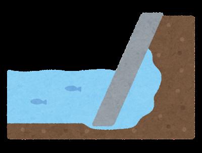 空洞のできた河川護岸のイラスト