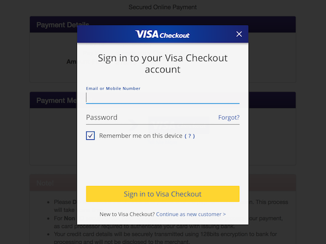 Step 4: Sign in to your Visa Checkout account, click pay and you're done!